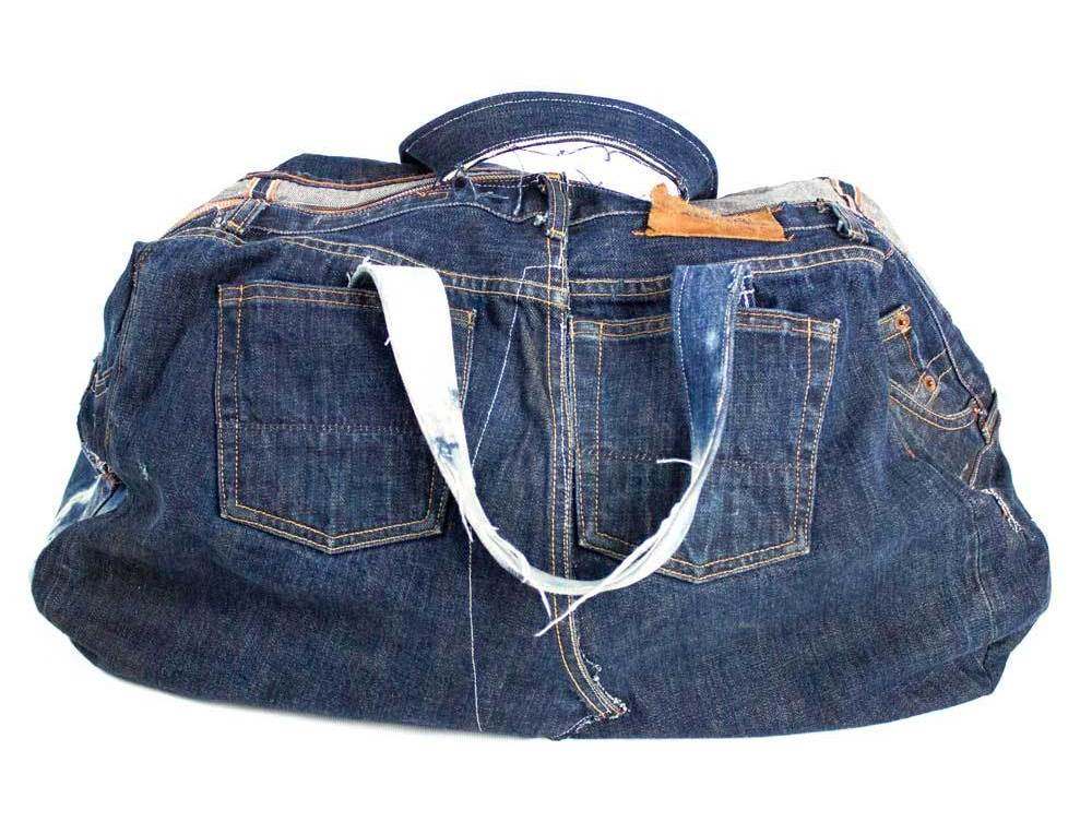 Jean Shop Patchwork Denim Duffle Bag